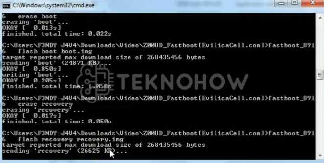 Proses Flashing Asus Zenfone Selfie Z00UD di CMD
