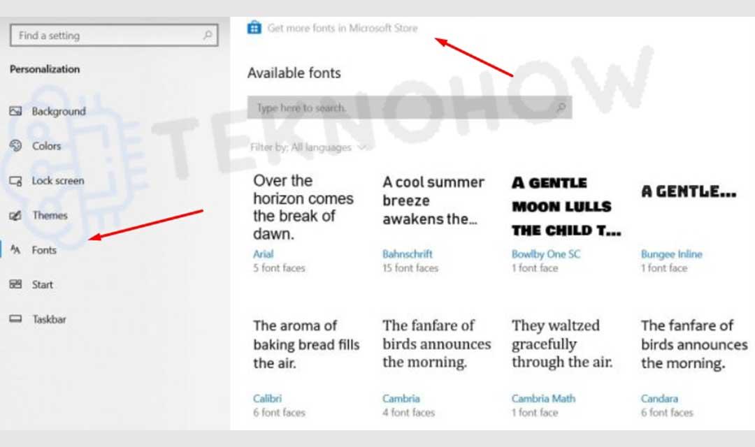 Download font melalui windows store