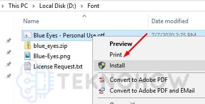 Install Font ke Sistem Windows