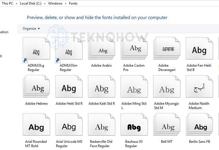 Memindahkan font ke program pengelolaan font Windows