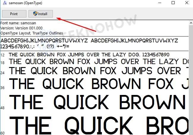 Install melalui windows font viewer