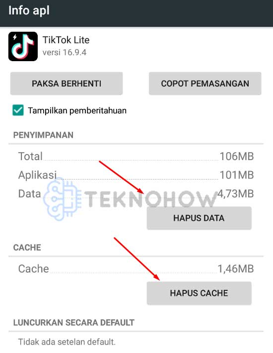 hapus data dan cache tiktok