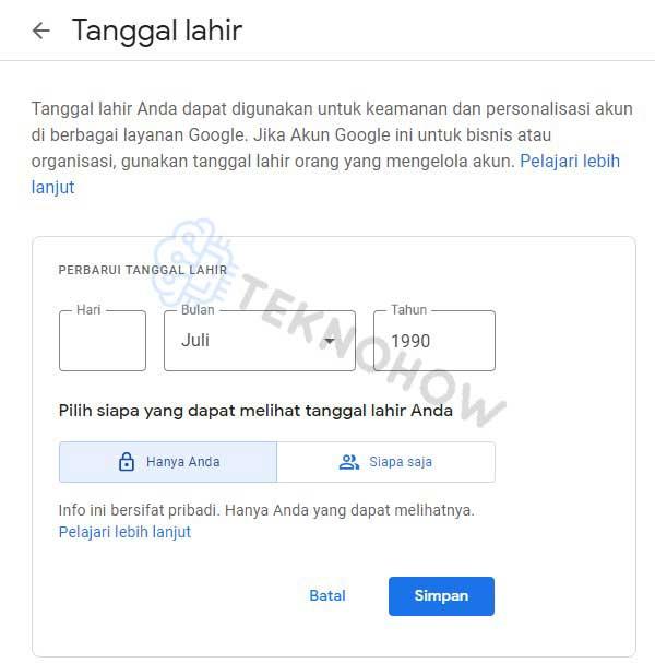 perbarui tanggal lahir google