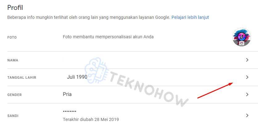 ubah tanggal lahir google